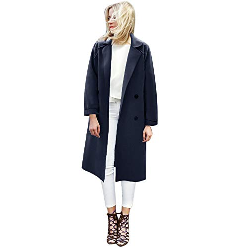 VEMOW Herbst Winter Elegante Damen Cashmere-Like Dicker Jacke Outwear Parka Cardigan Casual Täglichen Business Schlank Mantel(X3-Dunkelblau, EU-38/CN-L)