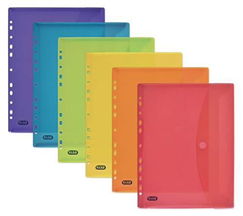 ELBA 400099574 Dokumenten-Mappe zum Abheften DIN A4 mit Klett-Verschluss und Eurolochung 6er Pack Brief-Taschen aus Kunststoff durchsichtig farbig sortiert