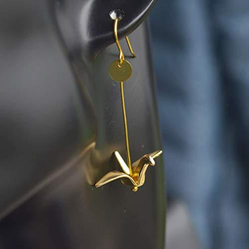 Ein Paar Fliegender Kranich Tier Vogel Geometrie Lange Vergoldet Ohrhänger