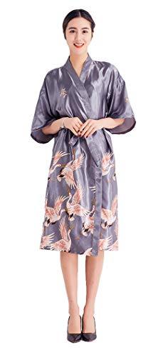 ang Seide Satin Kimono Kleid Bademantel Damen Lange Robe Schlafmantel Girl Pajama Party Grau M ()