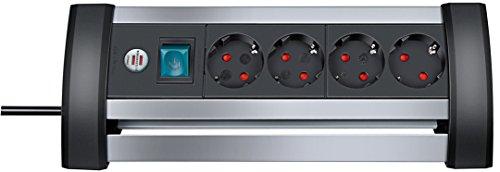 Brennenstuhl Alu-Office-Line, Steckdosenleiste 4-fach aus Aluminium für den Schreibtisch (mit Schalter und 1,8m Kabel) Farbe: schwarz