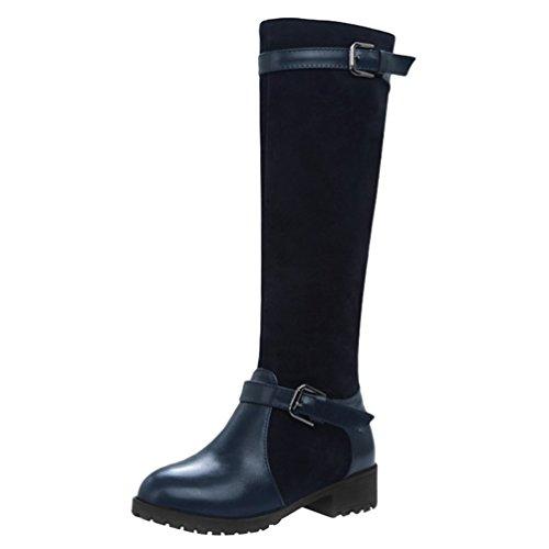Yiiquan Damen Winter Langschaft Stiefel Rutschfest Warme Schneeschuhe Runder Kopf (Saphir Blau, 35 EU) (Kniehohe Schaft-stiefel)