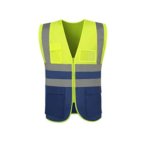 LYL-Safety-Westen Warnwesten Warnweste reflektierende Weste reflektierende Warnweste Kleidung reflektierende Warnweste (Color : Yellow)