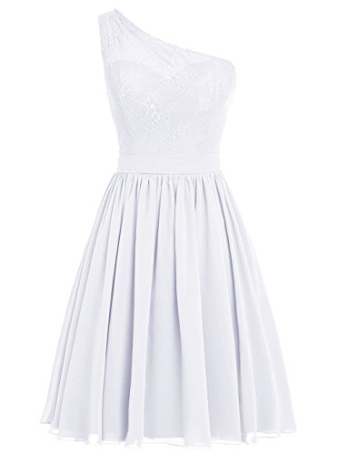 JAEDEN Giovane Una spalla Abiti damigella d'onore Corto Chiffon Abito da ballo Vestito da festa Bianco