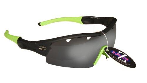 Rayzor professionnel léger UV400 Noir Sport Wrap Tir à l'arc Lunettes de soleil, avec un 1 Piece ventilé fumé miroir anti-éblouissement Lens.