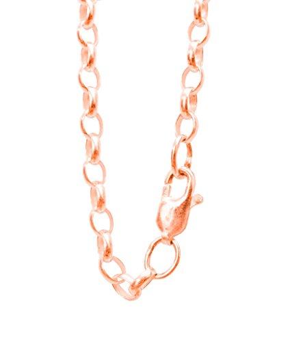 Antomus (R) Argento Massiccio placcato oro rosa ovale link Belcher catena made in England misure 19,1- 101,6cm, argento, colore: rosa, cod. B100-34R