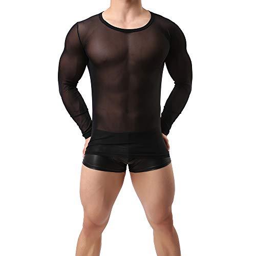 Sking Herren Unterhemd Transparent T-Shirt Langarm Tank Top Shirt Nachtwäsche Männer Reizvoll Unterwäsche (M, schwarz)