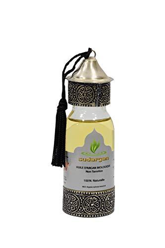 Huile d'argan bouteille artisanale 60 ml/pressée à froid hydratante anti-âge pour visage, cheveux, corps ongles, Certifiée 100% BIO ECOCERT
