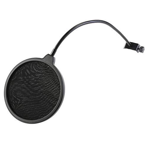 SUPVOX 2pcs Doppelschicht Mikrofon Windschutz Filter Mask Shield mit flexiblem Halter (schwarz)