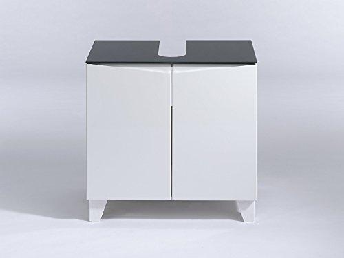 Glas-waschtisch Kommode (Cavadore Waschbeckenunterschrank Sharpcut-Bad / Weißer Schrank mit Hochglanz-Front und grauer Glasauflage / inkl. 2 Türen / 38 x 60 x 57 cm (T x B x H))