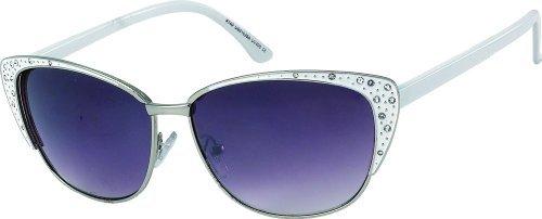 Damen Sonnenbrille mit Strass 80's retro Art. 8215-1 weiß silber / schwarz