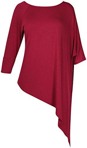 Damen Übergröße Halb Flügelärmel Damen Offene Schulter Asymmetrisch langes T-Shirt oben Weinrot