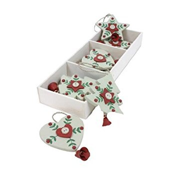Scatola di 9decorazioni natalizie in legno, a forma di stella, cuore e albero, da appendere all' albero di natale decorazioni