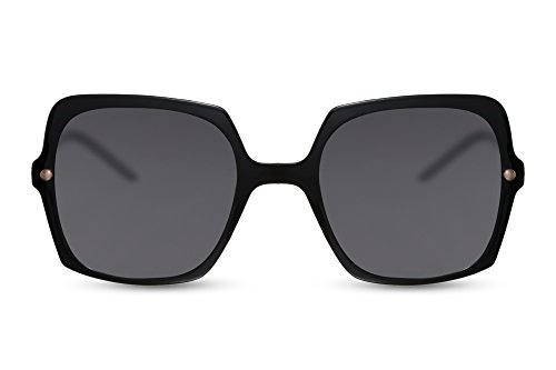 Cheapass Damen Sonnenbrille Schwarz Groß- Oversized XXL Designer-Brille IT-Girl Fashion Metall Frauen