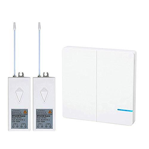 Lichtschalter, Alexa Wall Smart Switch Telefon Fernbedienung Lichter und Geräte Wireless 2-Wege Wandschalter mit 2x Empfänger kompatibel mit Alexa, Google Home, Timing Funktion ()