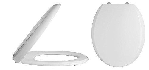 Home Standard Toilettensitz, rund, mit Schnellverschluss, Absenkautomatik, einfache Reinigung, Weiß (Runde Wc-sitz Weiß)