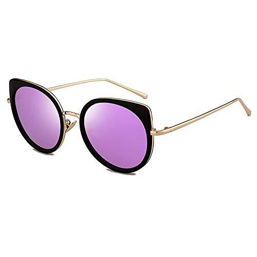XHCP Frauen Polarisierte Klassische Aviator Sonnenbrille, Metallrahmen Katzenaugen Sonnenbrille Für Frauen Männer UV Schutz Für Fahren Urlaub Sommer Strand (Farbe: C4)
