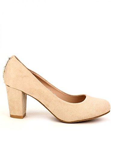 Cendriyon, Escarpin Beige COCO Strass Chaussures Femme Beige