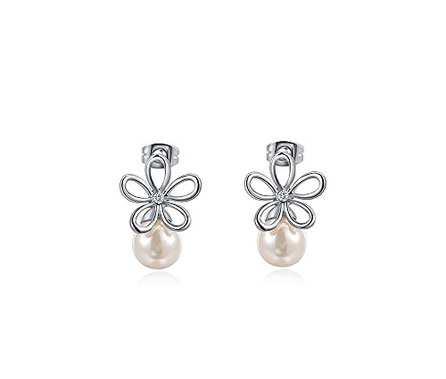 Silver Shoppee 'Blooming Love' High Quality Genuine Pearl Studded Sterling Silver Earrings for Girls and Women  available at amazon for Rs.380