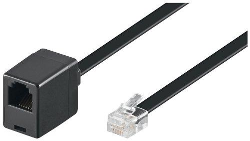 Wentronic Modular Verlängerungskabel (6-polig, RJ12 Stecker auf RJ12 Kupplung) schwarz 3m (6p6c Modular-kabel)