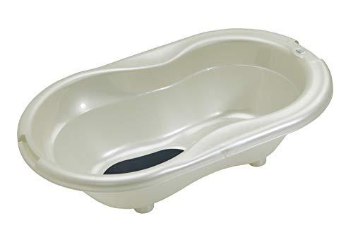 Rotho Babydesign TOP Badewanne, Mit Antirutschmatte und Ablaufstöpsel, 0-12 Monate, TOP, Perlweiß Creme, 200010100
