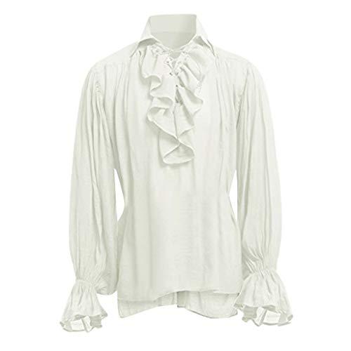 Geilisungren Herren Vintage Hemd Mittelalterliches Gothic Langarm Umlegekragen T-Shirt Ethnisch Stil Einfarbige Rüschen Bluse Übergrößen Tops für Männer Gr.S-5XL(Beige,XXXXL)
