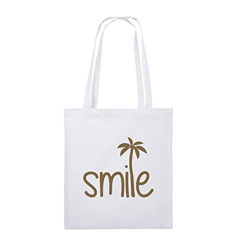Comedy Bags - smile - PALME - Jutebeutel - lange Henkel - 38x42cm - Farbe: Schwarz / Silber Weiss / Hellbraun