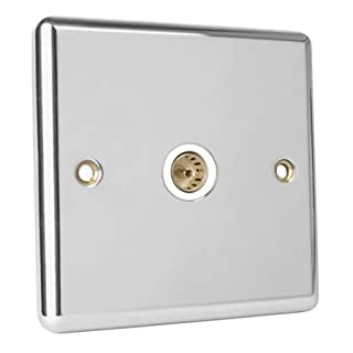 Magna Polished Chrome 1 Gang Coaxial TV Socket - White Insert