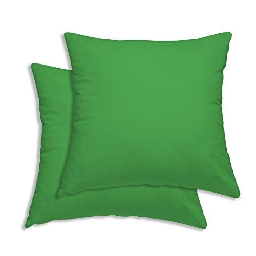 Pack Kissen Kopfkissen Bezug Hülle 80x80cm grün Uni Baumwolle ()