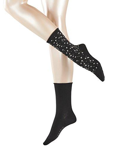 ESPRIT Damen Socken Shiny Stars, 2er Pack, Mehrfarbig (Black 3000), 35/38 (Socken Star-2pk)