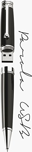 Wort USB Kugelschreiber in schwarzem Lack und Palladium Montegrappa iswousb1