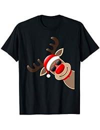Weihnachten Lustiges Geschenk Rudolph Rentier Rote Nase T-Shirt