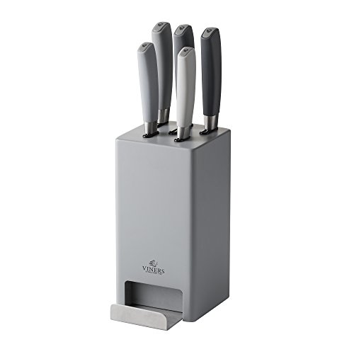 Viners Media Mono Grey 5 Piece Knife Block Set