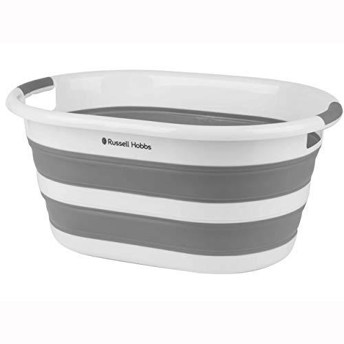 Russell Hobbs LA053879WHTEU Wäschekorb aus Kunststoff, oval, faltbar, 27l, Weiß/Grau, 62.5L x 45W x 28H cm
