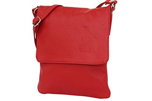 Rot Leder Mode (AMBRA Moda Italienische Ledertasche Schultertasche Crossover Umhängetasche Nappaleder Damen Kleine Tasche NL602 (Rot))