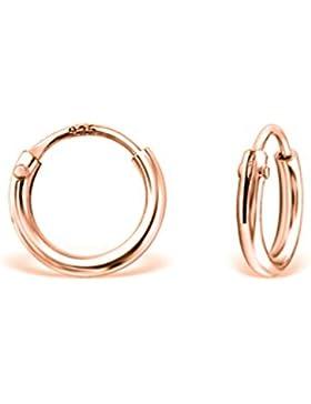 DTPsilver - Damen - Klein Creolen - Ohrringe 925 Sterling Silber und Rosen Vergoldet - Dicke 1.5 mm - Durchmesser...