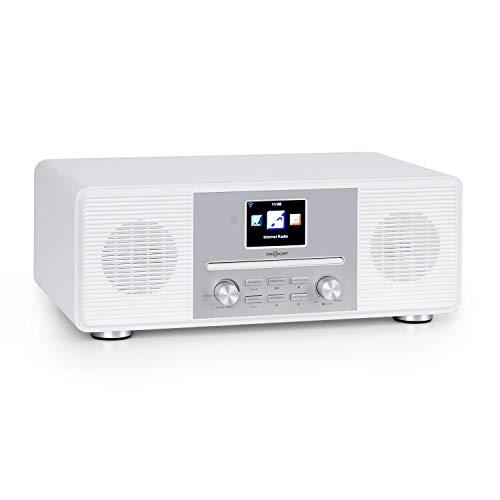 oneConcept Streamo CD - Internet Radio, Web Radio, Ricezione Radio via WiFi, DAB/DAB+ e FM, 2 x10 W RMS, Bluetooth, Lettore CD, Connessioni: AUX-IN, Cuffie, Display HCC da 2,8', Telecomando, Bianco
