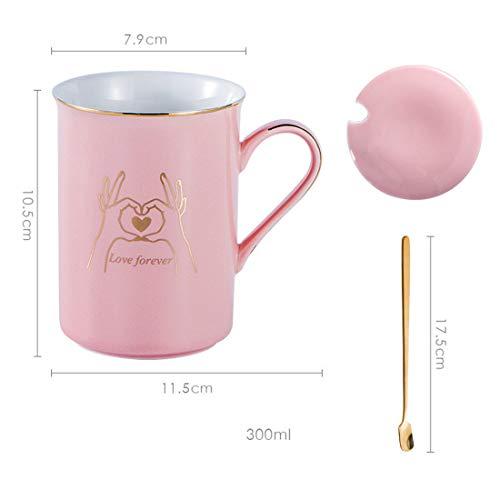 qwdf Tazza Regalo Creativo Coppia Contro Tazza Tazza in Ceramica Leggera con Retro in Oro Chiaro Tazza di Acqua per Uso Quotidiano Tazza di caffè Tazza di Latte per la Colazione