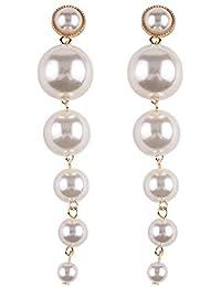Shining Diva Fashion Stylish Long Gold Plated Drop Earrings for Women (White)(9900er)