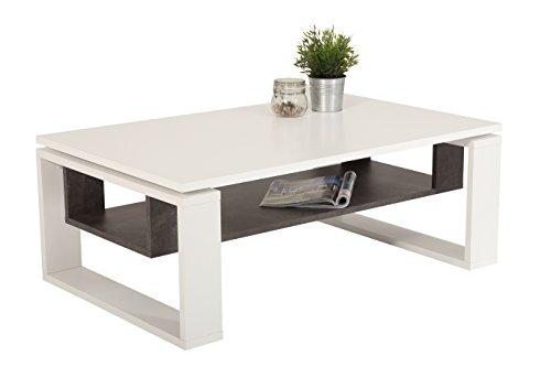 Couchtisch Nick, Holzwerkstoff Dekor Weiß/Beton, 110x70x42 cm
