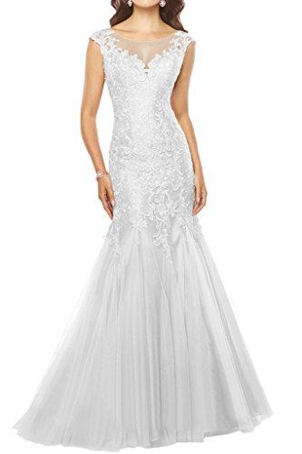 Milano Bride Damen Anmutig V-Ausschnitt Mermaid Abendkleider Festkleider Tuell Ballkleider mit Applikation Figurbetot Lang Weiß