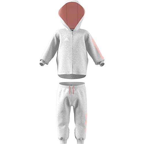 adidas Baby Linear Full Zip Hooded French Terry Trainingsanzug, Light Grey Heather/Haze Coral/White, 86