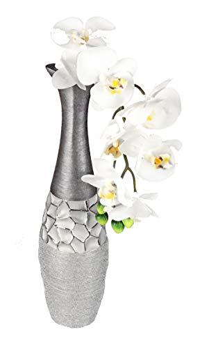 Formano Deko Vase Silber grau aus Keramik matt gebürstet mit Relief (40 x 10 x 10 cm)