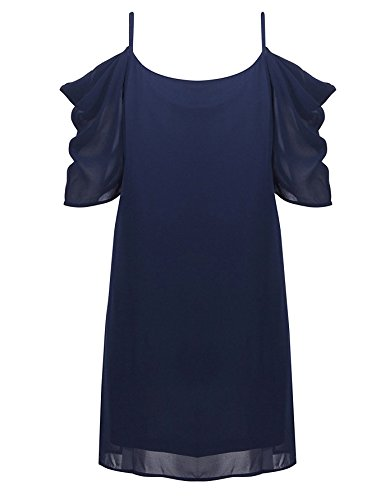 Angelady Women Sexy Cut Out Cold Shoulder Adjustable Spaghetti Straps Dress Top Navy Blau