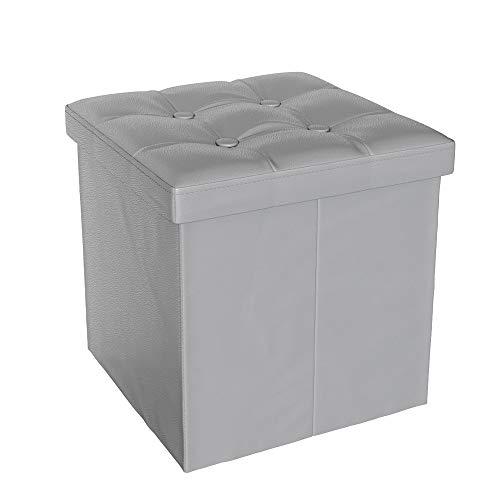 Vicco Sitzhocker Sitzwürfel Hocker Aufbewahrungsbox faltbar 38x38x38 cm (Grau)