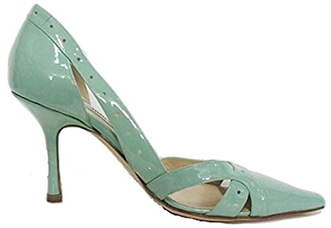 Jimmy Choo Pale Green Patent Lattice Detailed Pointed Court Shoe (UK 4½ (marked Euro 37½))