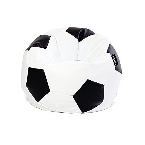 MiPuf - Puff Futbol Original - 90cm diámetro - Tejido Polipiel Alta Resistencia - Doble Cremallera - Relleno Incluido - Blanco y Negro - 4 años de Garantía
