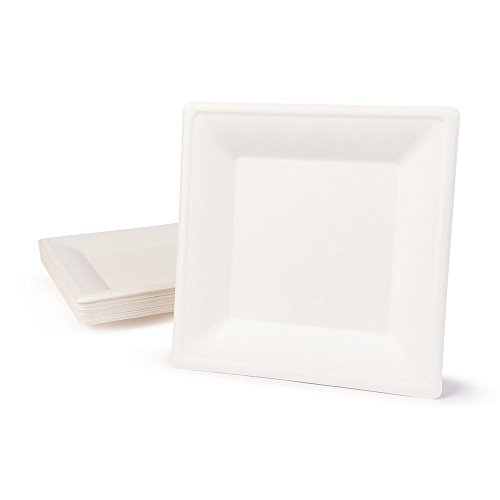 BIOZOYG Vaisselle à Base Bagasse | 50 pièces d'assiettes du Canne de Sucre Blanche carrée décolorée 26x26 cm | Bio jetable Vaisselle, Menu Plats et jetable fête Assiette