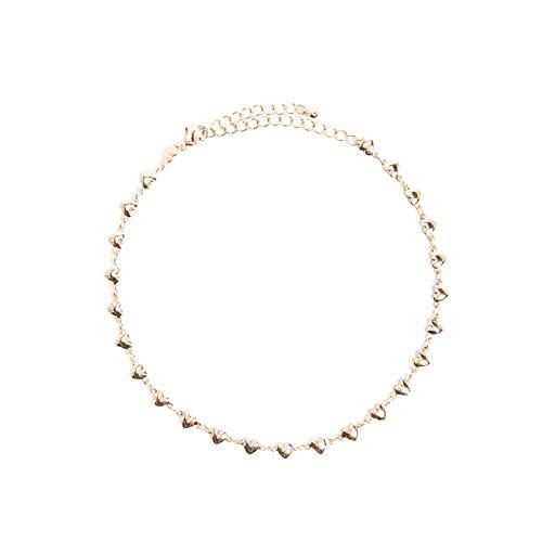 SonMo Damen Fußkettchen Vergoldet Fußkette Damen Diamanten Fusskette Damen Herz Gold Fußschmuck für Frauen Mädchen 32CM -