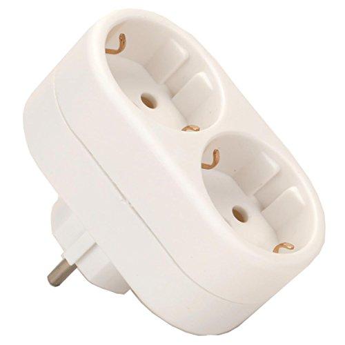 Preisvergleich Produktbild Doppel Schukostecker Steckdose Adapter weiß Multistecker Strom Verteiler